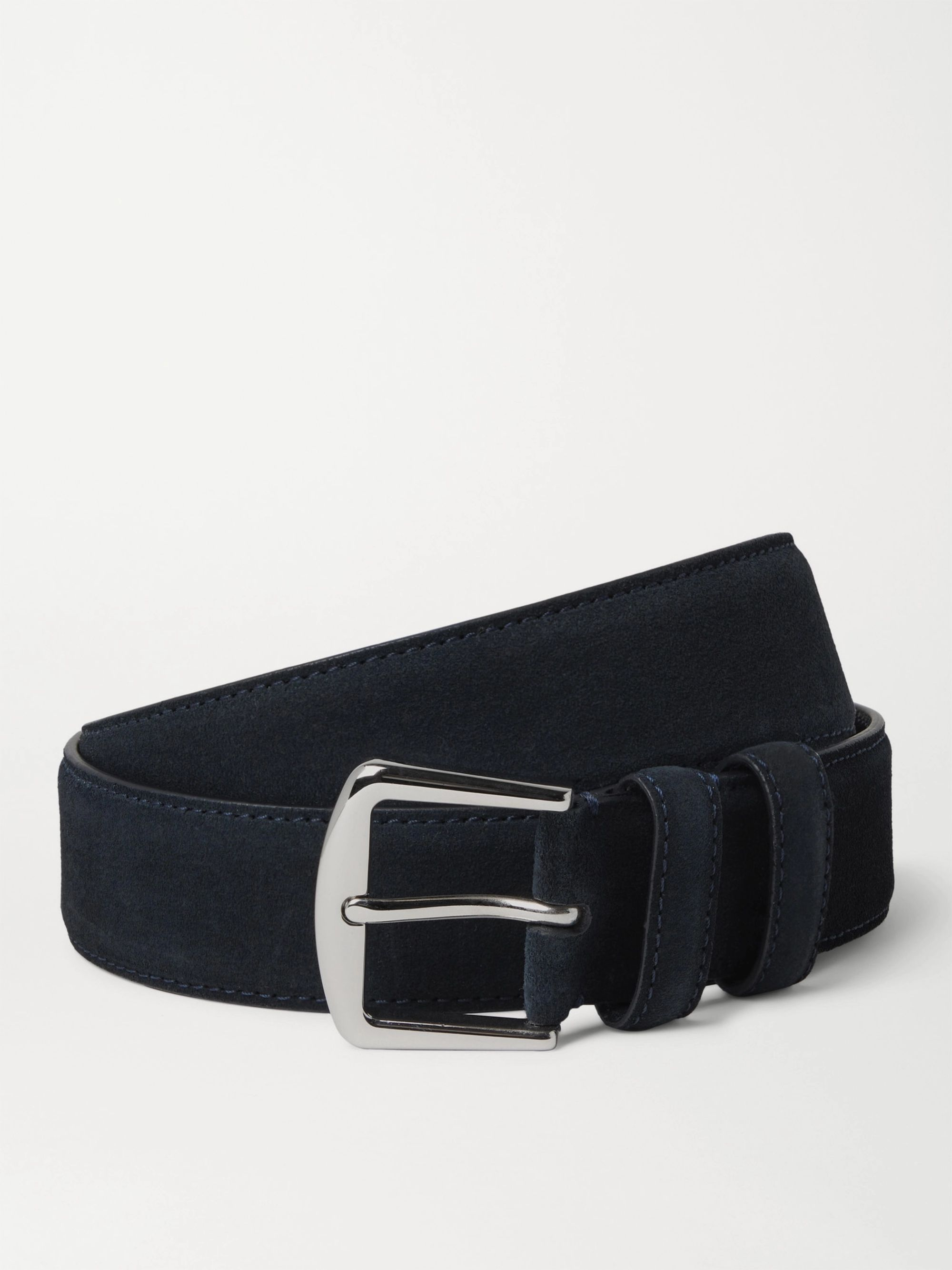 LORO PIANA 3.5cm Midnight-Blue Suede Belt