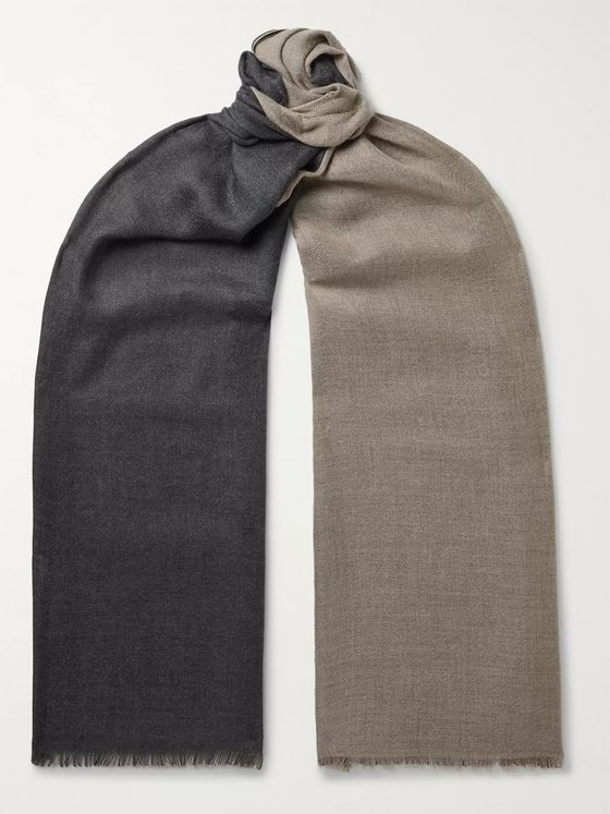Loro Piana Fringed Two-Tone Cashmere and Silk-Blend Scarf