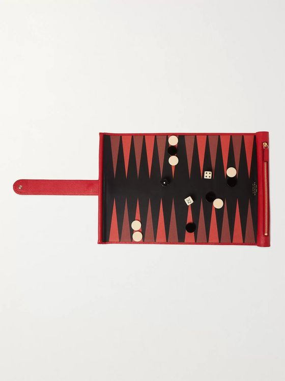 Smythson Cross-Grain Leather Backgammon Set