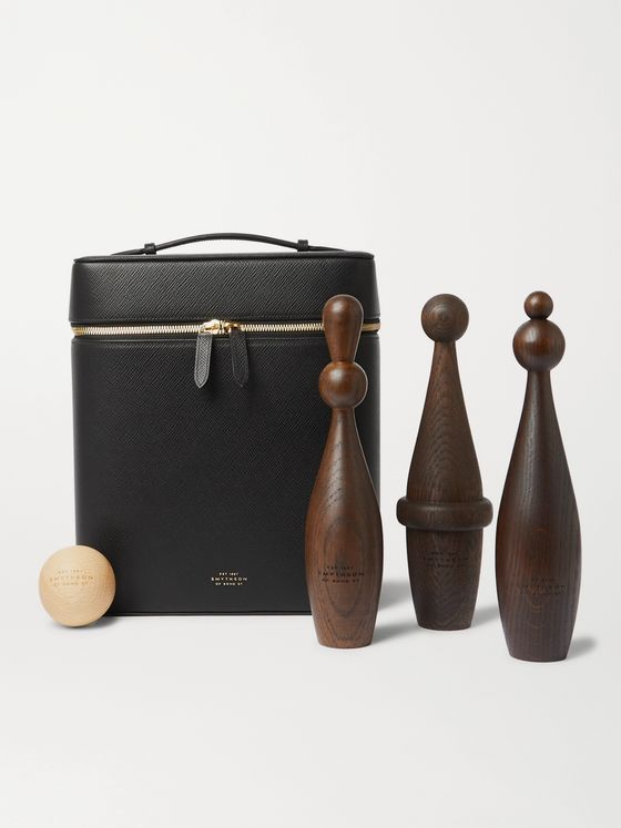SMYTHSON Panama Leather and Wood Skittles Set