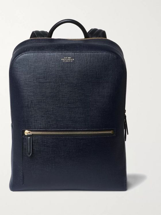 Smythson Panama Cross-Grain Leather Backpack