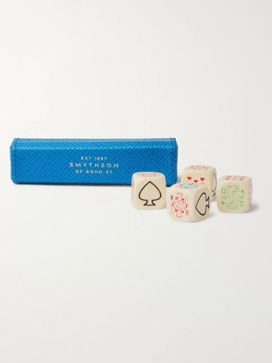 Smythson Panama Cross-Grain Leather Poker Dice Set