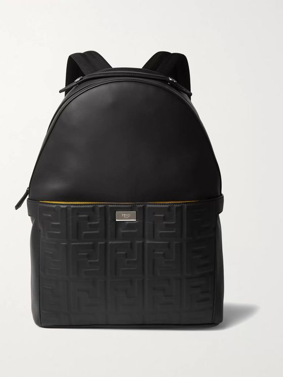 Fendi Peekaboo Logo-Embossed Leather Backpack