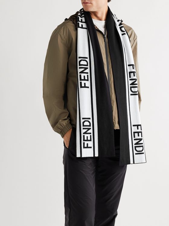 Fendi Striped Logo-Intarsia Cotton and Wool-Blend Scarf