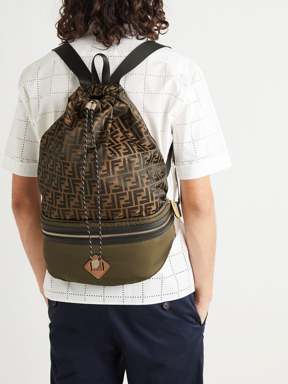 Fendi Convertible Leather and Suede-Trimmed Shell and Canvas Backpack