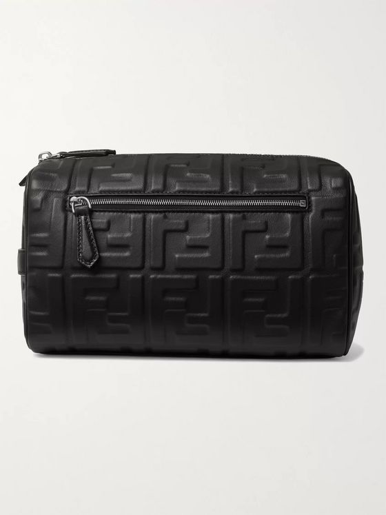Fendi Logo-Embossed Leather Wash Bag