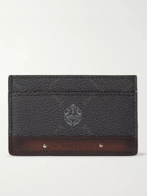 Berluti Printed Full-Grain and Burnished Leather Cardholder