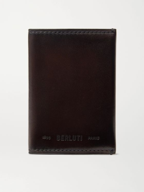 Berluti Ideal Burnished-Leather Bifold Cardholder