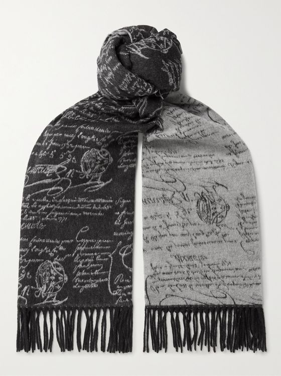 BERLUTI Scritto Reversible Fringed Brushed-Silk Scarf
