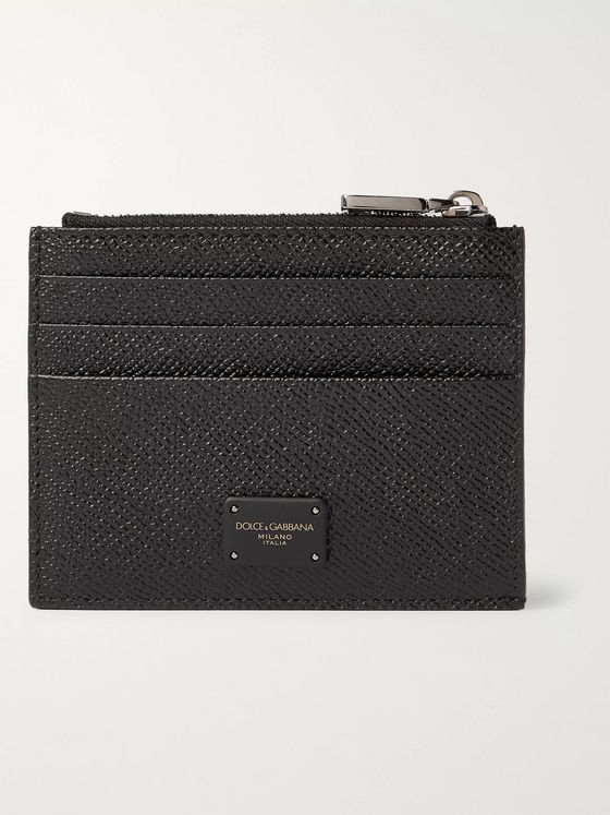 Dolce & Gabbana Logo-Appliquéd Pebble-Grain Leather Cardholder