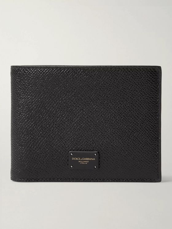 Dolce & Gabbana Logo-Appliquéd Pebble-Grain Leather Bifold Wallet
