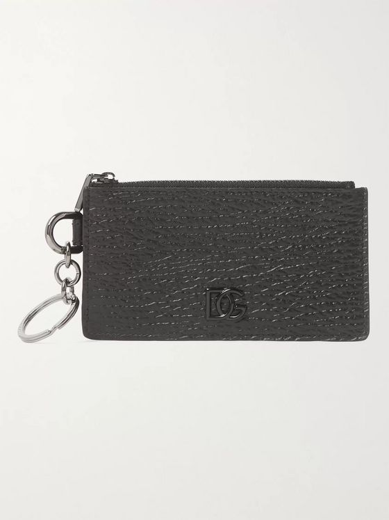 Dolce & Gabbana Logo-Appliquéd Full-Grain Leather Zipped Cardholder
