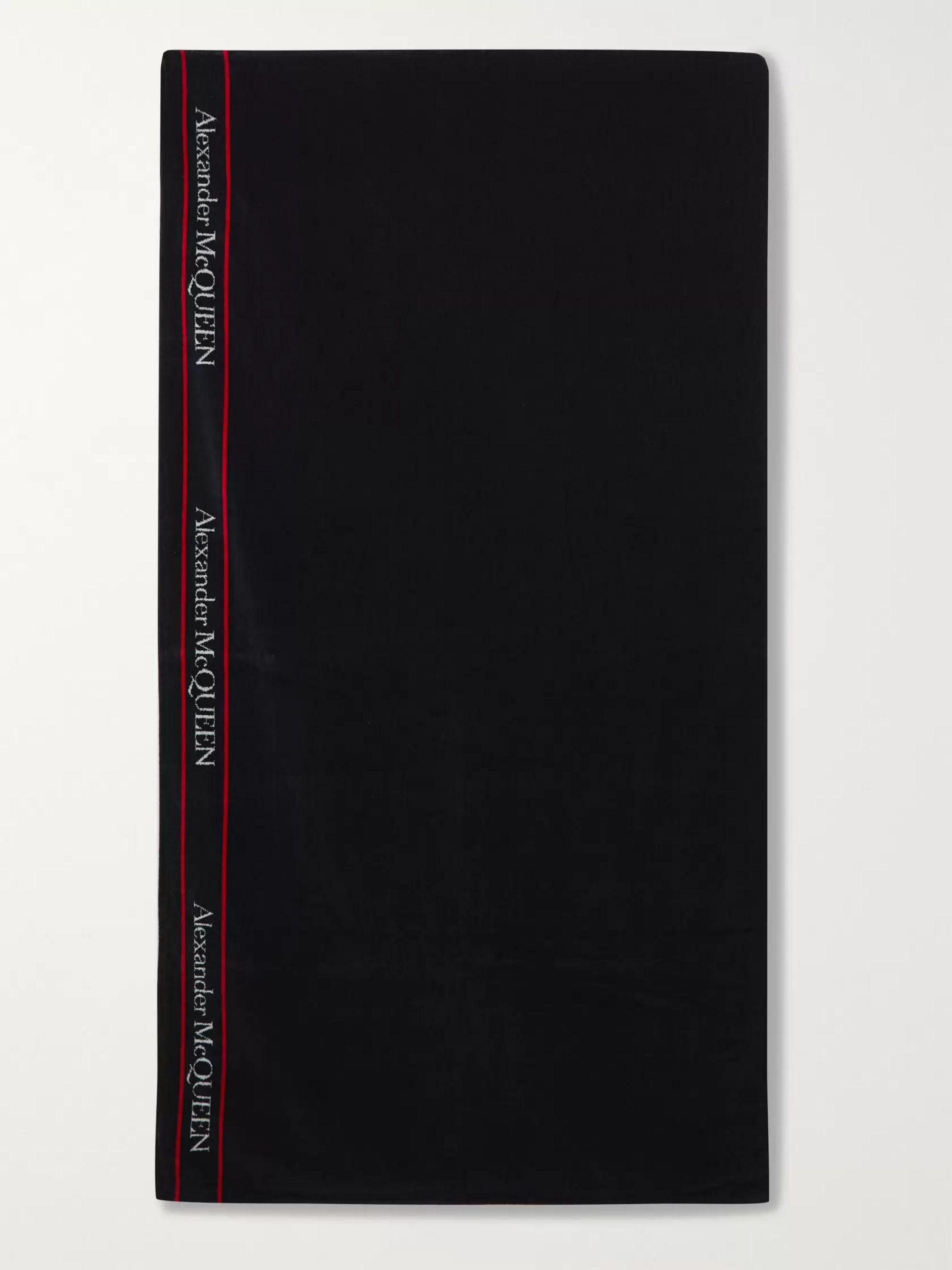 Black Logo-print Cotton-terry Beach Towel | Alexander Mcqueen