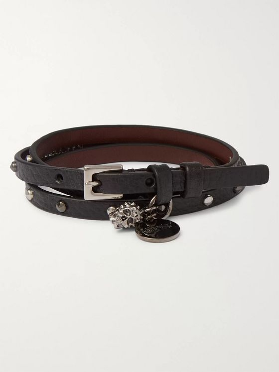 Alexander McQueen Studded Full-Grain Leather Wrap Bracelet