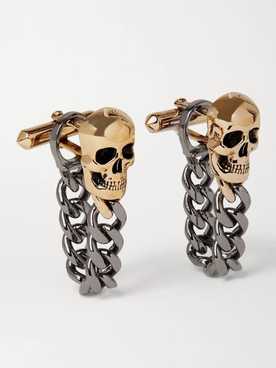 ALEXANDER MCQUEEN Chain-Embellished Gold and Silver-Tone Cufflinks