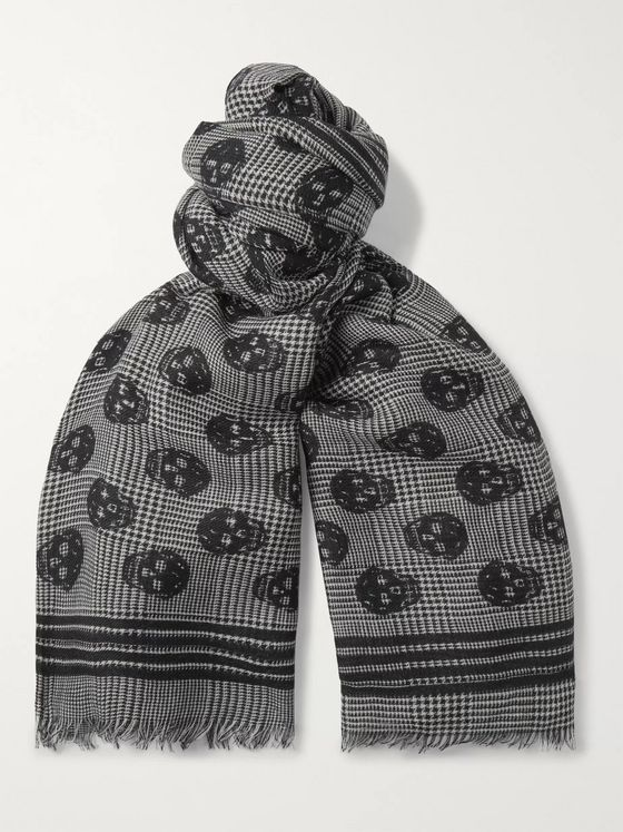 Alexander McQueen Fringed Logo-Print Wool and Silk-Blend Scarf