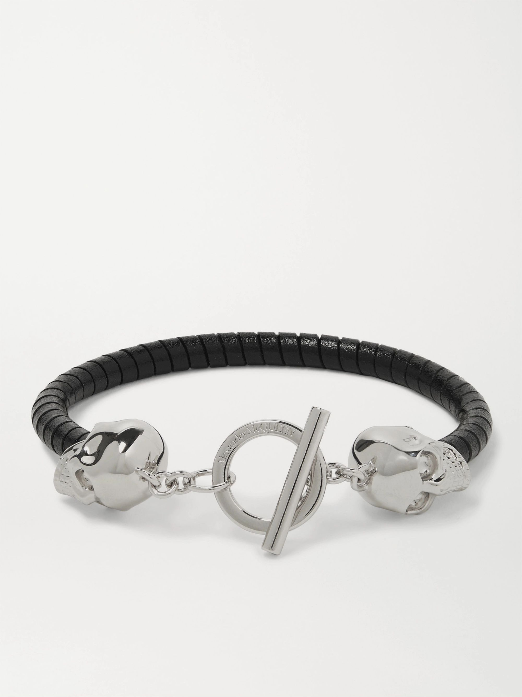 알렉산더 맥퀸 팔찌 Alexander McQueen Silver-Tone and Leather Bracelet,Black