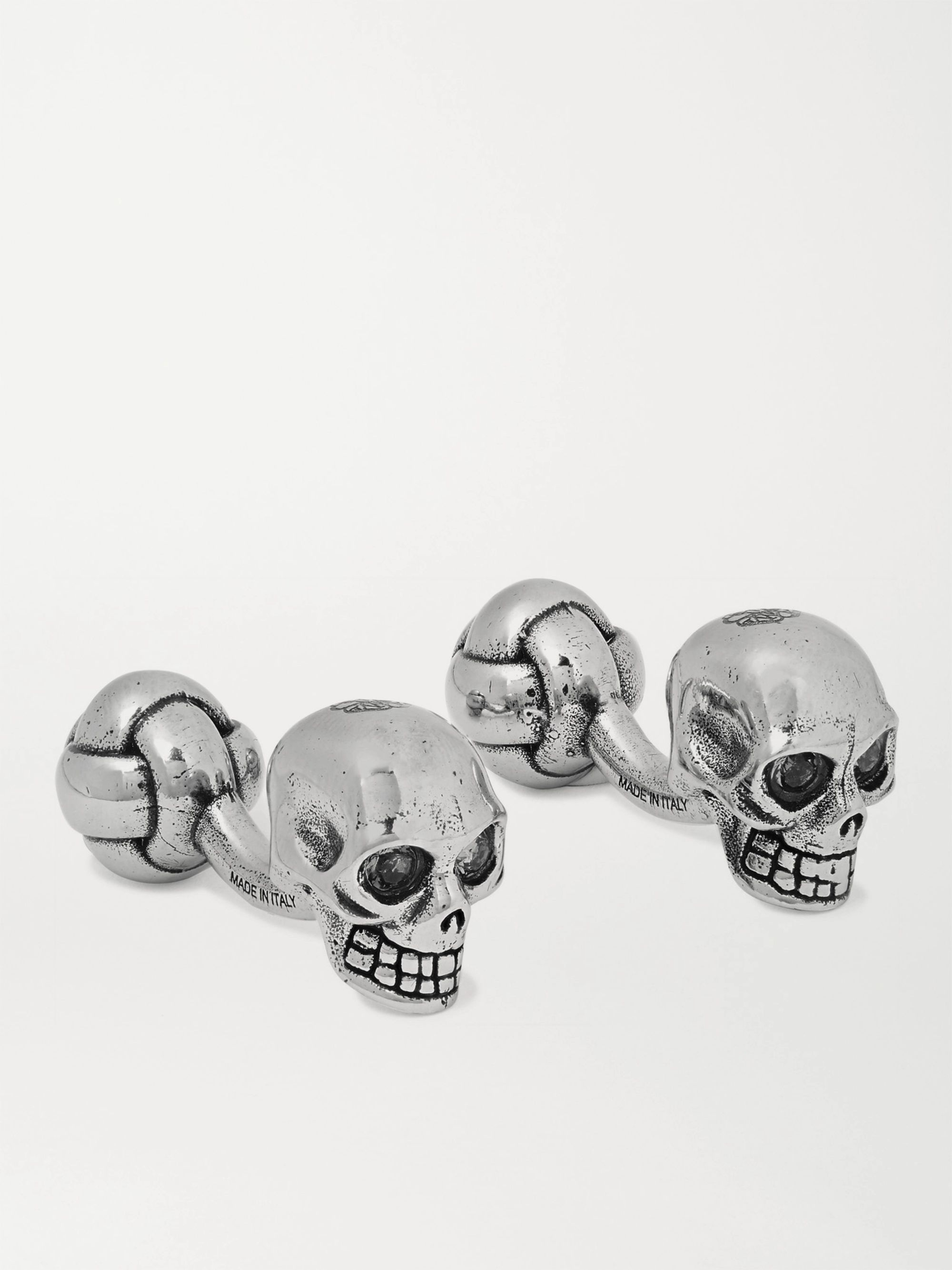 Alexander McQueen Skull Burnished Silver-Tone and Crystal Cufflinks