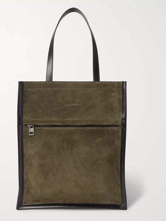 Alexander McQueen Leather-Trimmed Suede Tote Bag