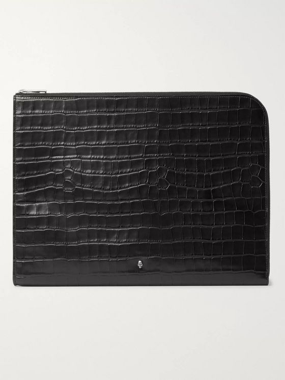 ALEXANDER MCQUEEN Embellished Croc-Effect Leather Pouch