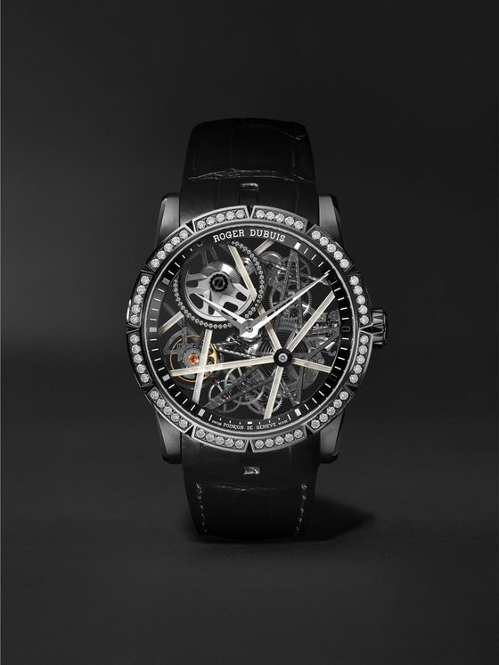 ROGER DUBUIS Excalibur Blacklight Limited Edition Automatic Skeleton 42mm DLC-Coated Titanium, Alligator and Diamond Watch, Ref. No. RDDBEX0756