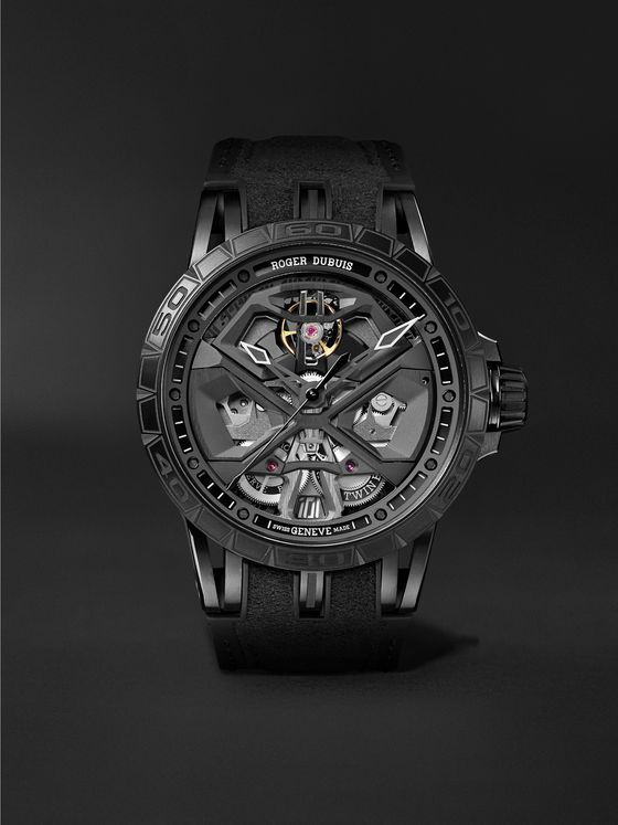 Roger Dubuis Excalibur Huracán Automatic Skeleton 45mm DLC-Coated Titanium and Rubber Watch, Ref. No. RDDBEX0829