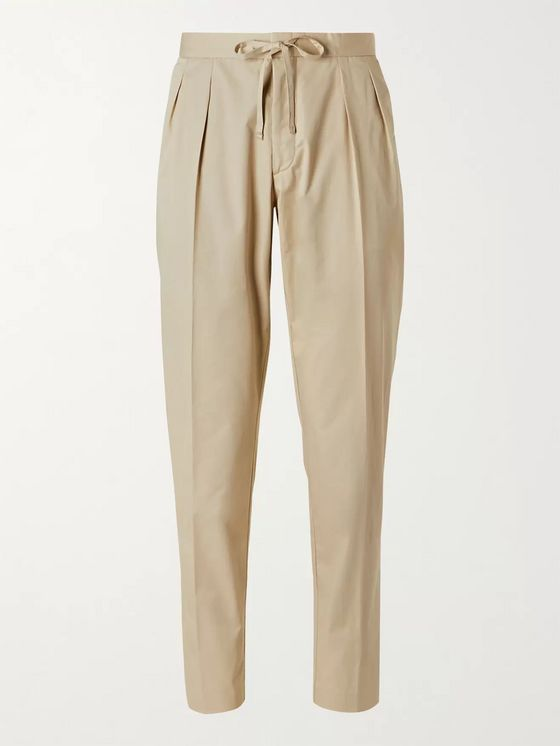Hugo Boss Tapered Pleated Cotton-Blend Drawstring Trousers