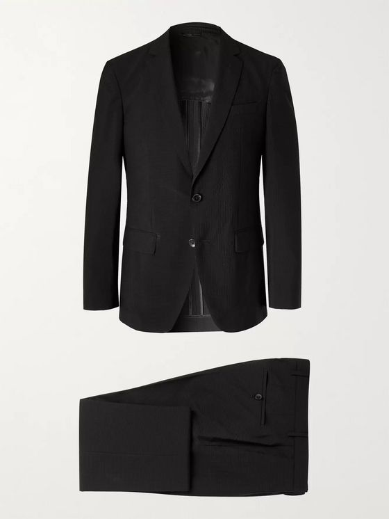Hugo Boss Helford Slim-Fit Stretch-Wool and Cotton-Blend Seersucker Suit