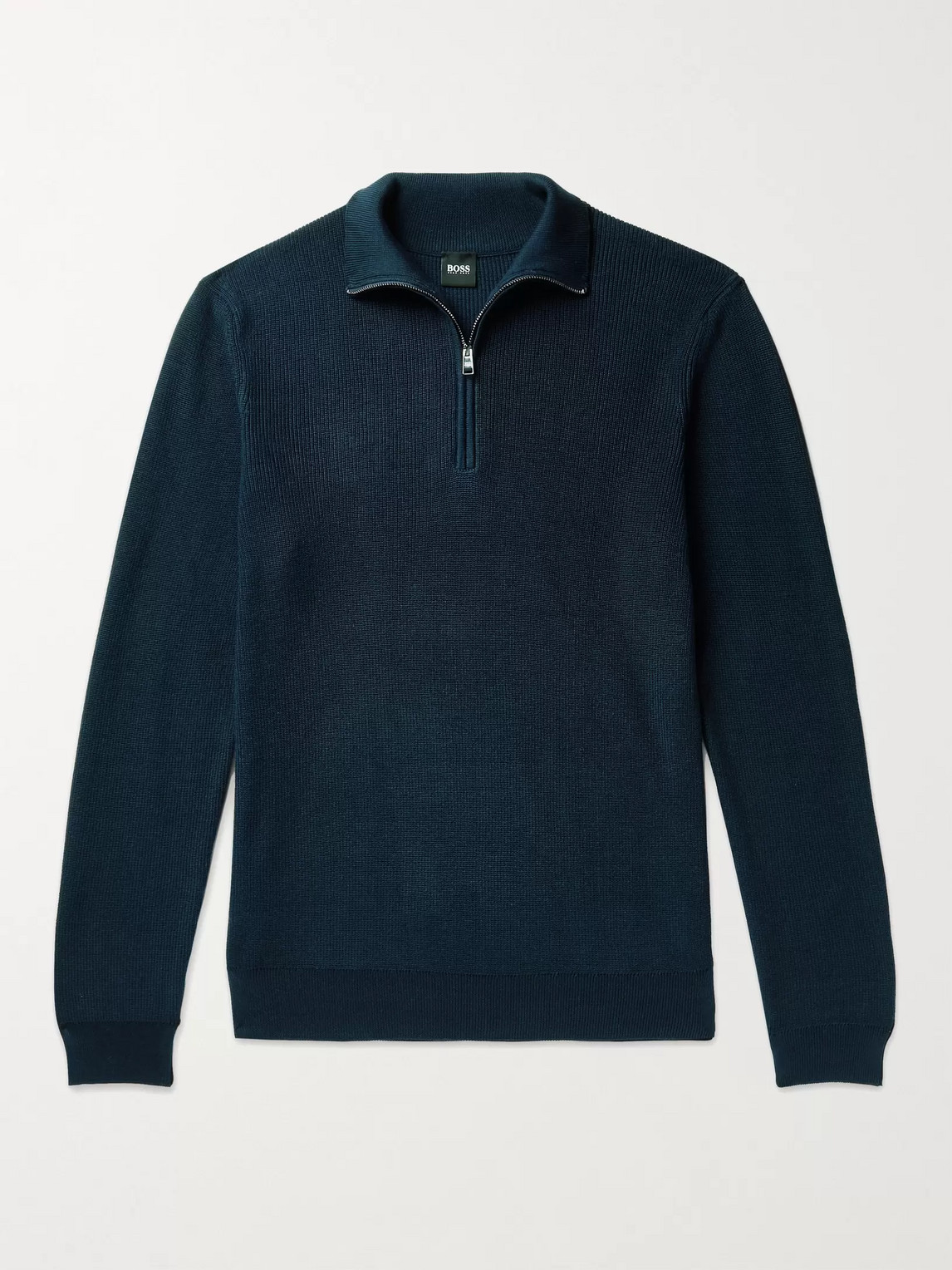 Hugo Boss Icarlo Cotton Half-zip Sweater In Blue