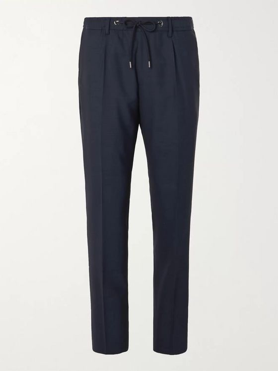 Hugo Boss Bardon Slim-Fit Tapered Virgin Wool Drawstring Suit Trousers