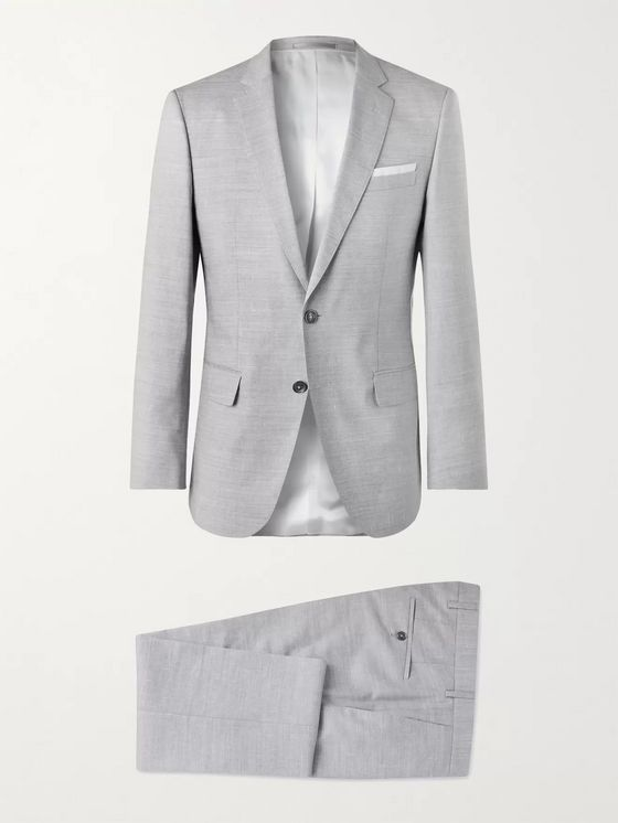 Hugo Boss Hutson Slim-Fit Wool, Linen and Silk-Blend Suit