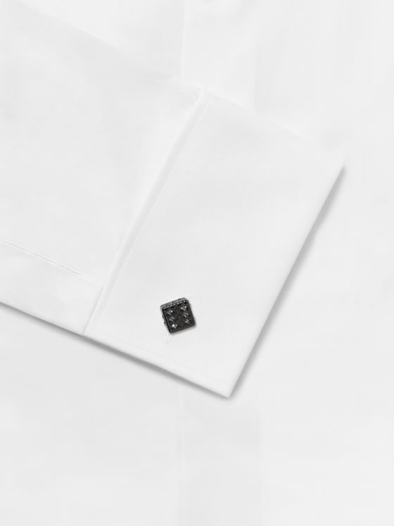 TATEOSSIAN Dice Gunmetal, Diamond and Swarovski Crystal Cufflinks