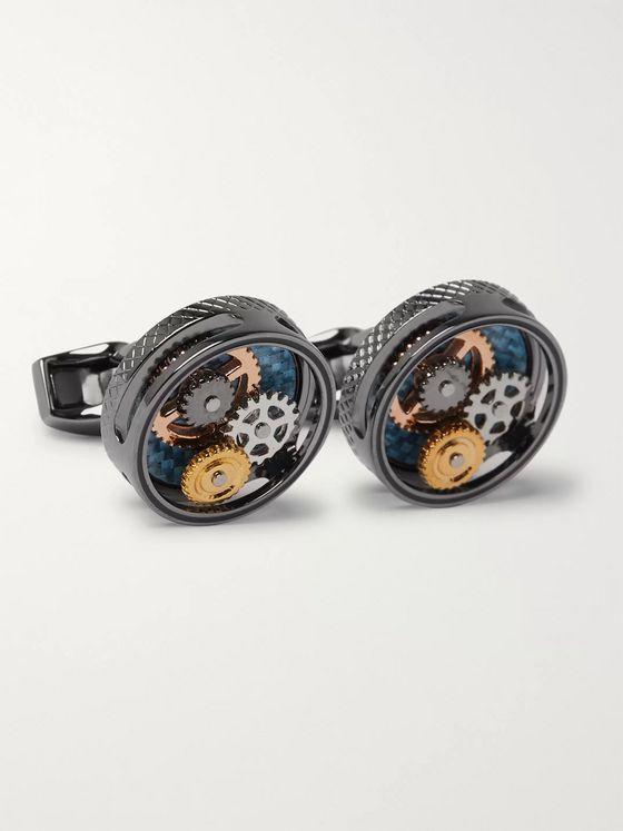 TATEOSSIAN Gear Rhodium-Plated Cufflinks