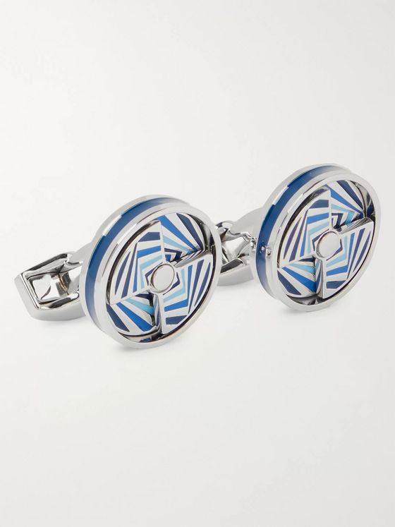 TATEOSSIAN Rhodium-Plated and Enamel Cufflinks