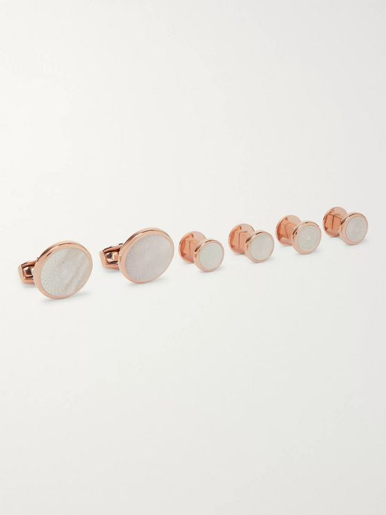 TATEOSSIAN Rose Gold-Tone Mother-of-Pearl Cufflinks