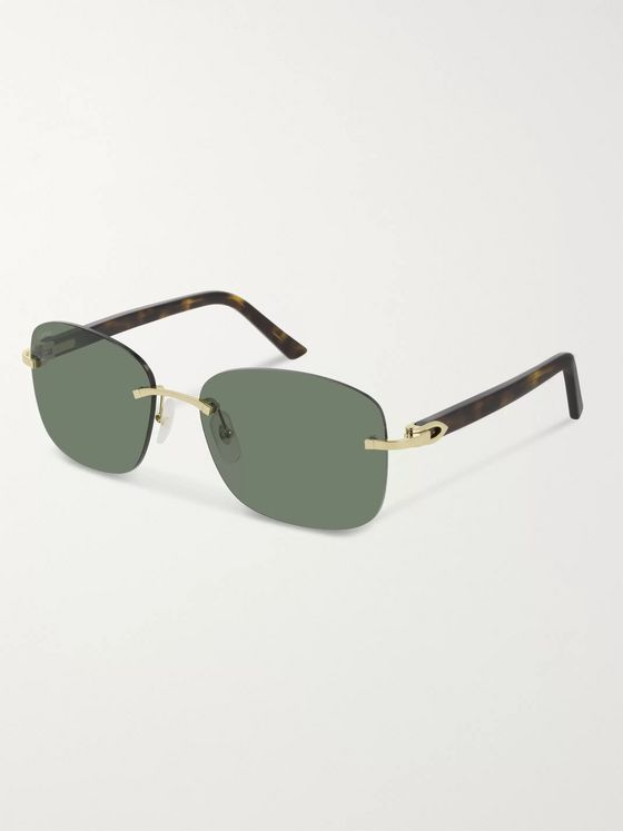 Cartier Eyewear Frameless Gold-Tone and Tortoiseshell Acetate Sunglasses