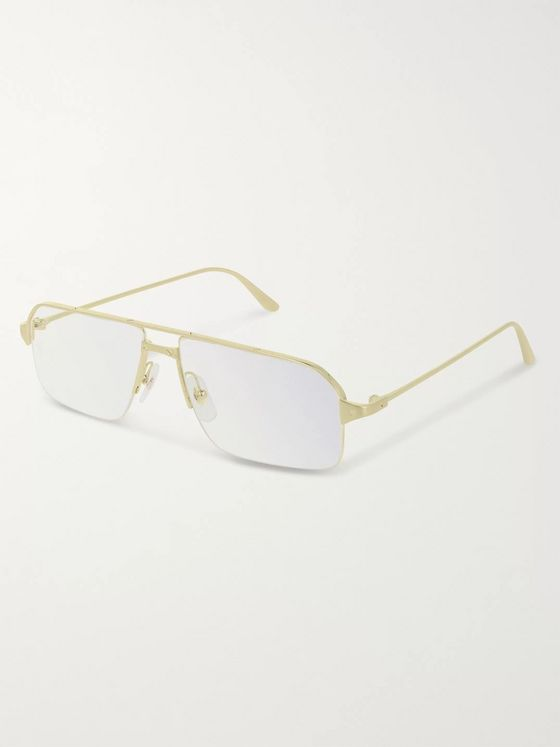 Cartier Eyewear Santos de Cartier Rectangular-Frame Gold-Tone Optical Glasses