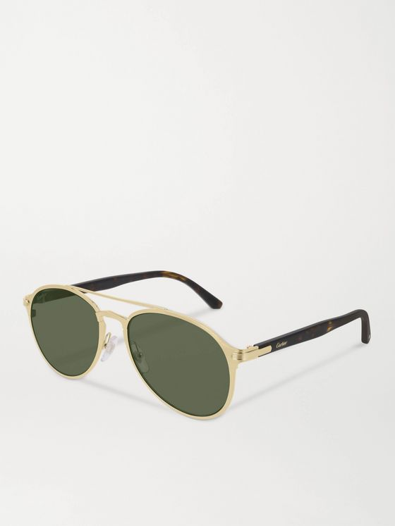 Cartier Eyewear Aviator-Style Brushed Gold-Tone and Tortoiseshell Acetate Sunglasses