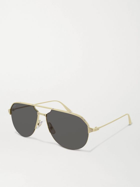 Cartier Eyewear Aviator-Style Brushed Gold and Silver-Tone Sunglasses