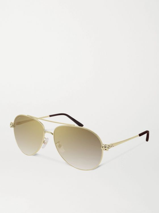 Cartier Eyewear Panthère de Cartier Aviator-Style Gold-Tone Mirrored Sunglasses