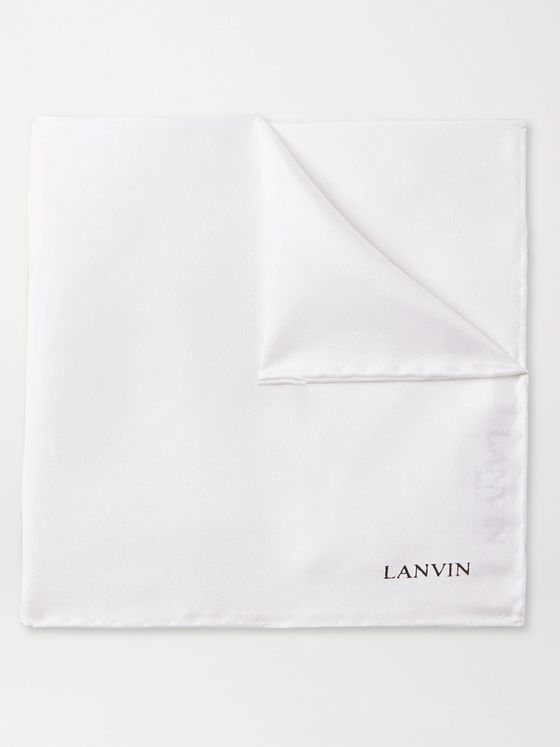 Lanvin Logo-Print Silk Pocket Square