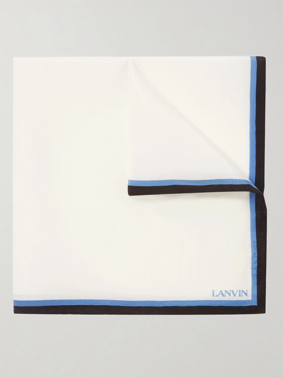 Lanvin Contrast-Tipped Silk Pocket Square