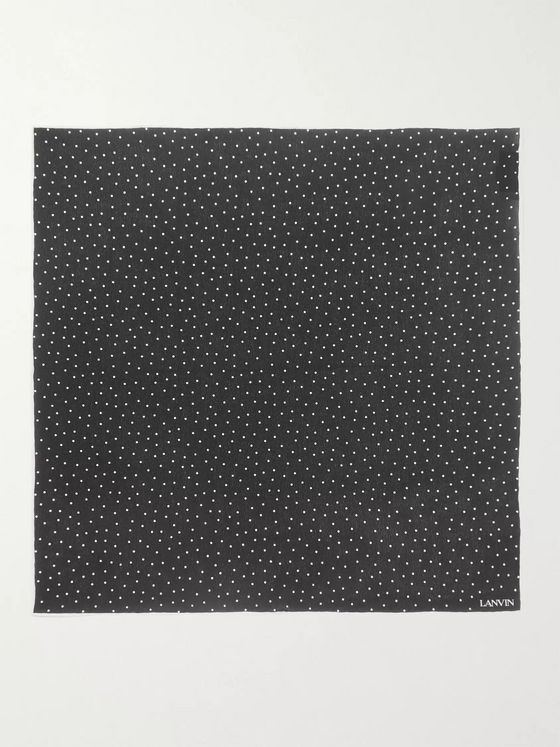 Lanvin Polka-Dot Silk Pocket Square