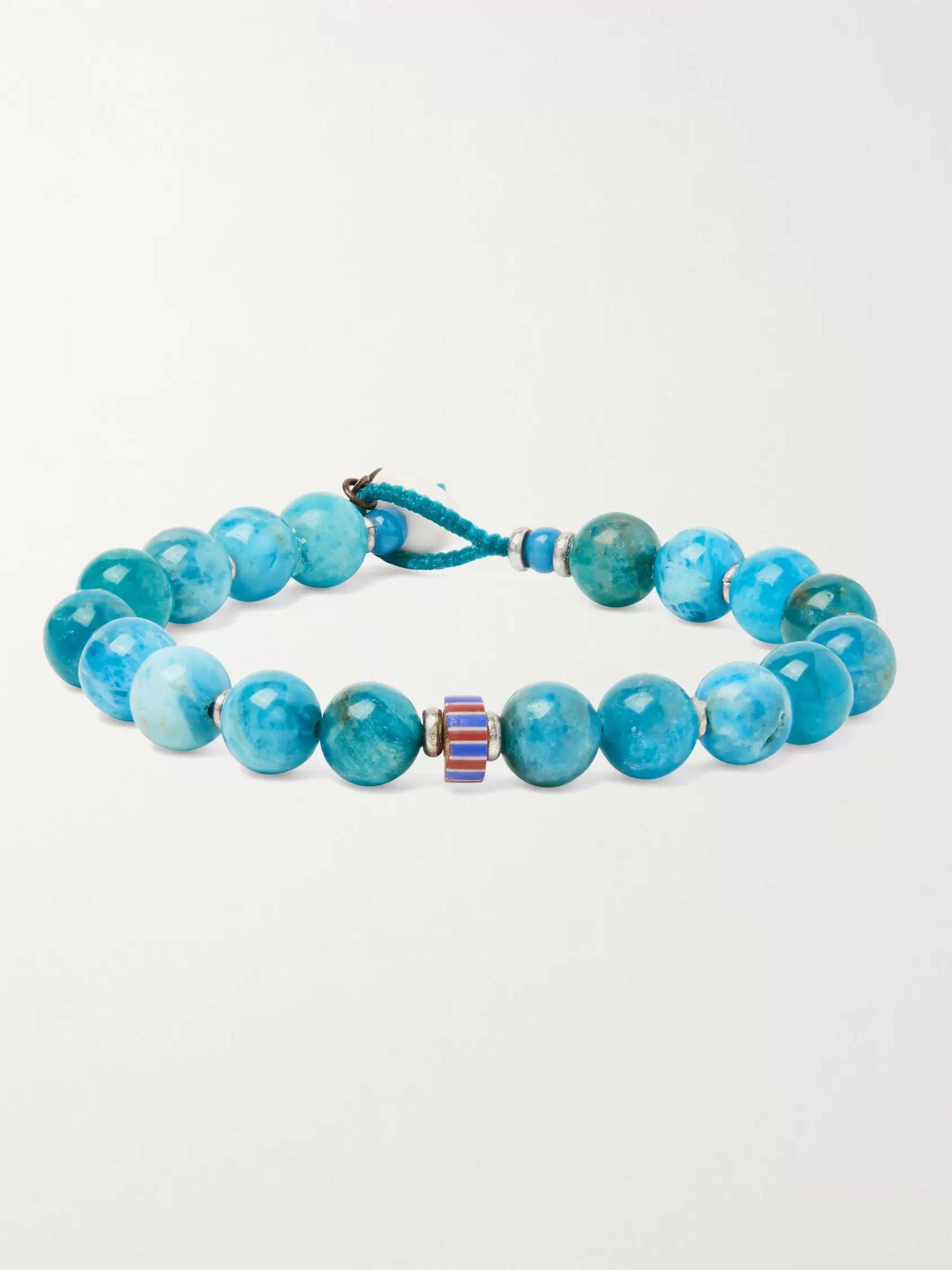 MIKIA Apatite Silver-Plated Glass and Shell Beaded Bracelet,Blue