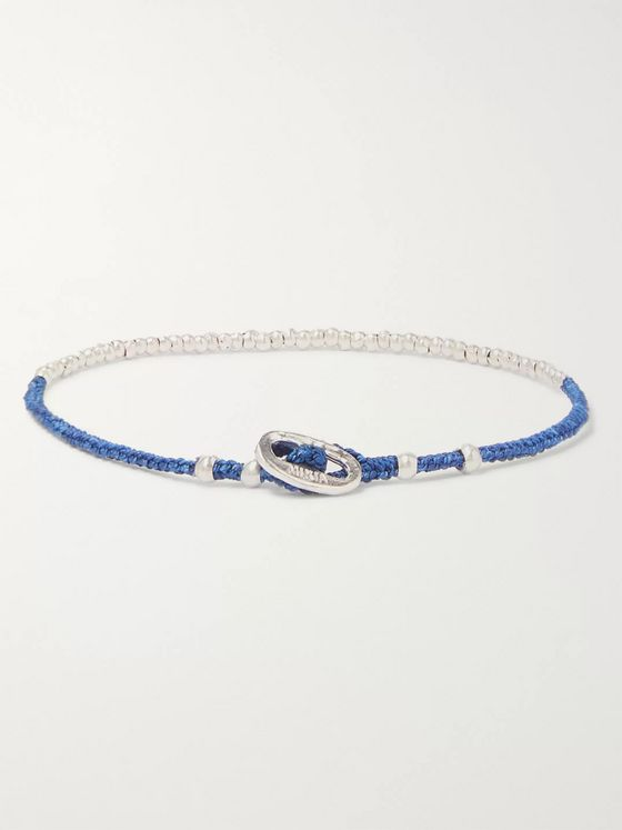Mikia Silver-Tone and Silk Beaded Bracelet