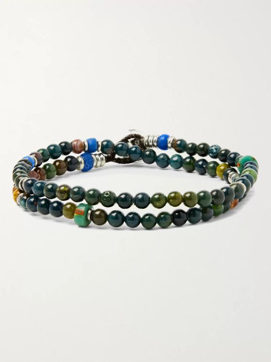 Mikia Bloodstone, Silver-Tone and Glass Beaded Bracelet