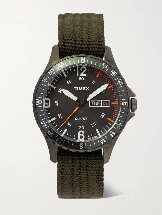 TIMEX Navi Land 38mm Stainless Steel and Ballistic Nylon-Webbing Watch