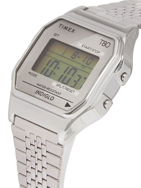 TIMEX T80 34mm Stainless Steel Digital Watch