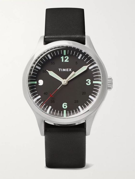TIMEX Waterbury 38mm Stainless Steel and Leather Watch