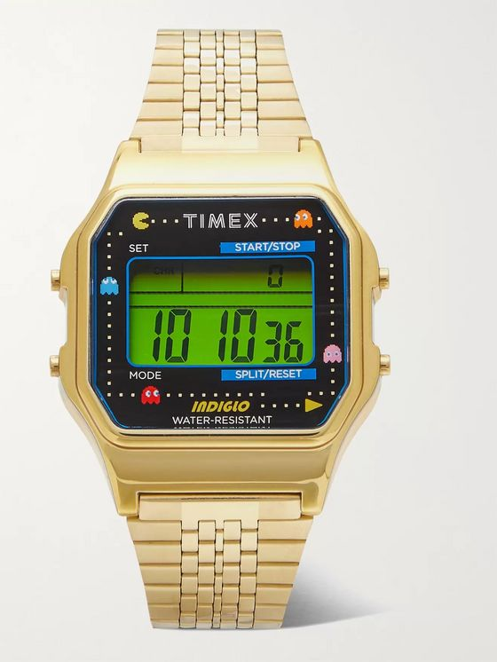 Timex + Pac-Man T80 34mm Gold-Tone Stainless Steel Digital Watch